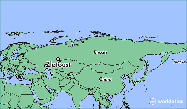 map showing the location of Zlatoust