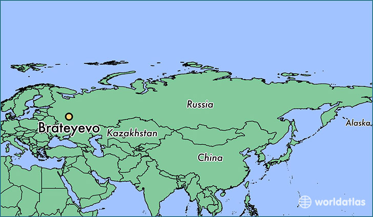 map showing the location of Brateyevo