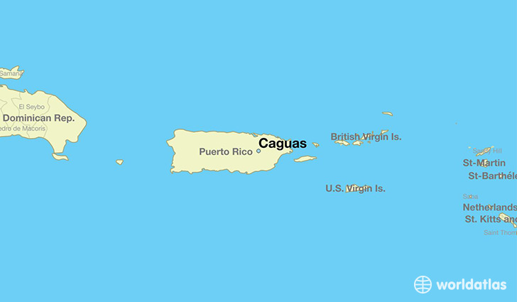 map showing the location of Caguas