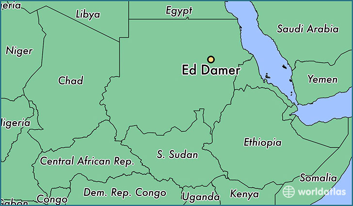 map showing the location of Ed Damer