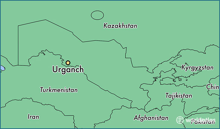 map showing the location of Urganch