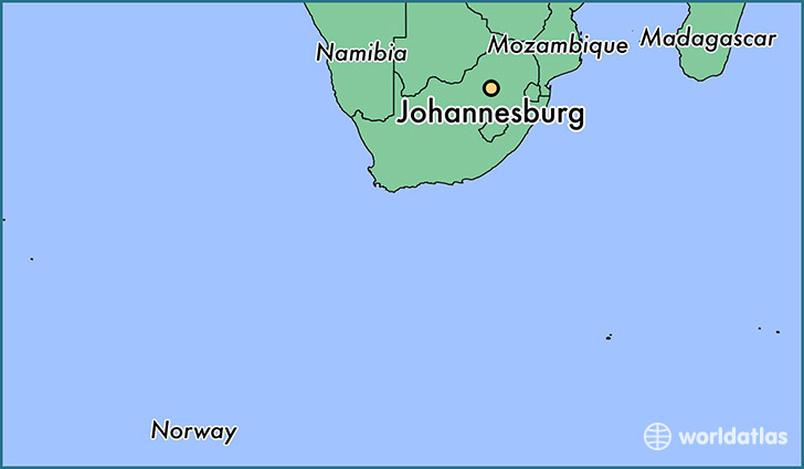 map showing the location of Johannesburg