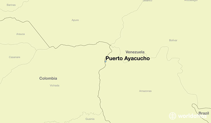 map showing the location of Puerto Ayacucho
