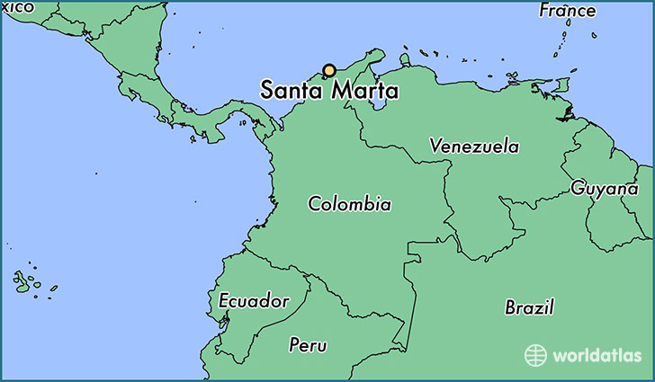map showing the location of Santa Marta