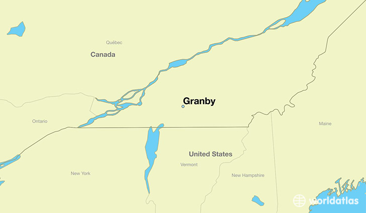 map showing the location of Granby