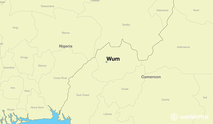 map showing the location of Wum