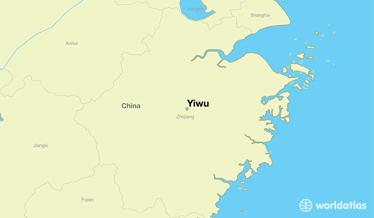 map showing the location of Yiwu