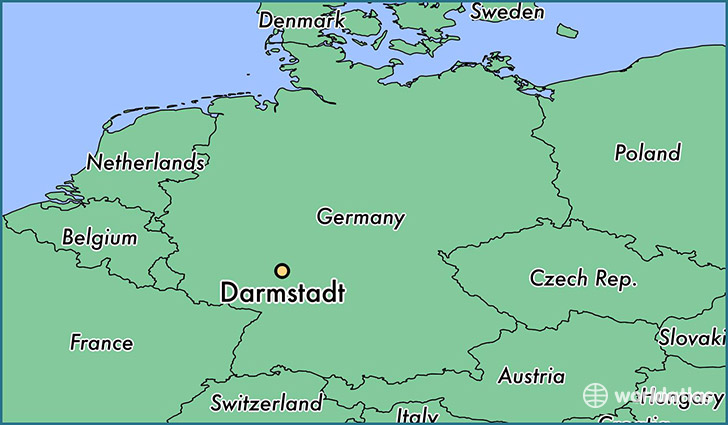 map showing the location of Darmstadt