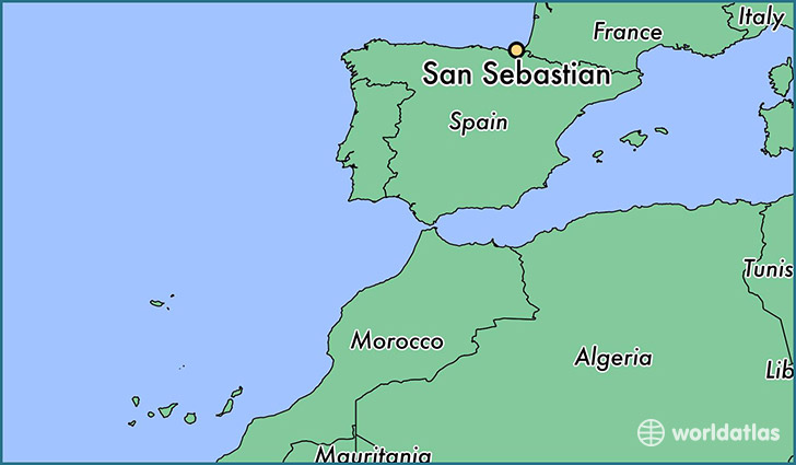 map showing the location of San Sebastian