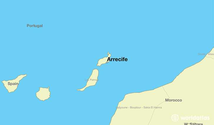map showing the location of Arrecife