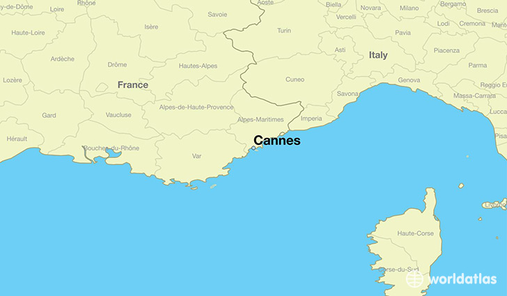 map showing the location of Cannes