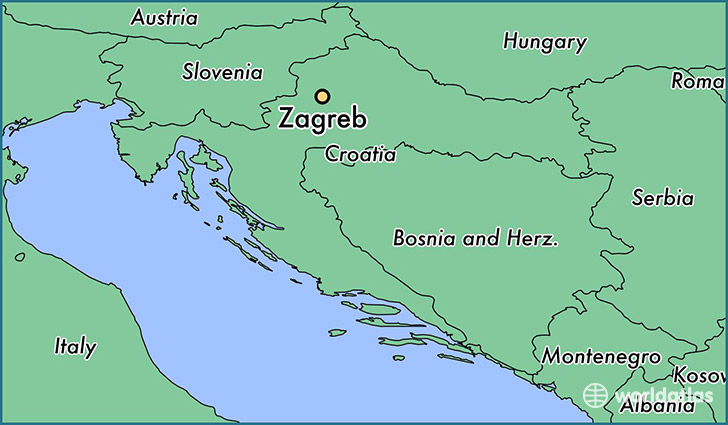 map showing the location of Zagreb