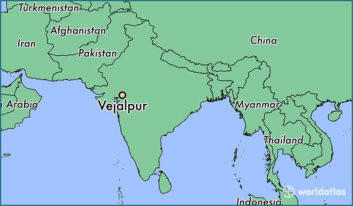 map showing the location of Vejalpur