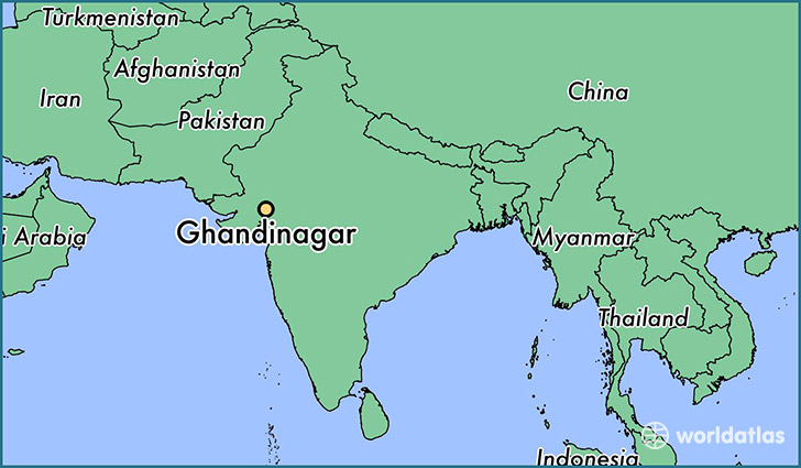 map showing the location of Ghandinagar