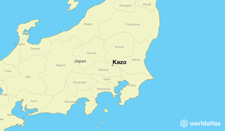 map showing the location of Kazo
