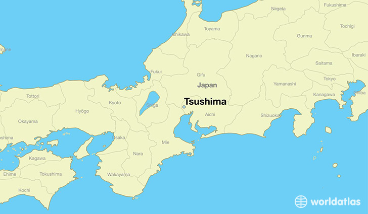 map showing the location of Tsushima