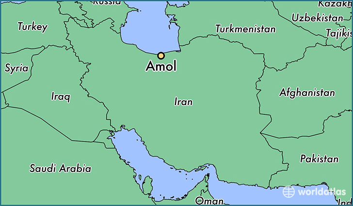 map showing the location of Amol