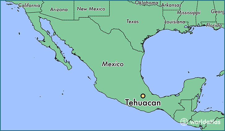 map showing the location of Tehuacan