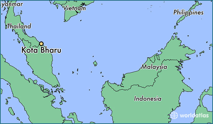 map showing the location of Kota Bharu
