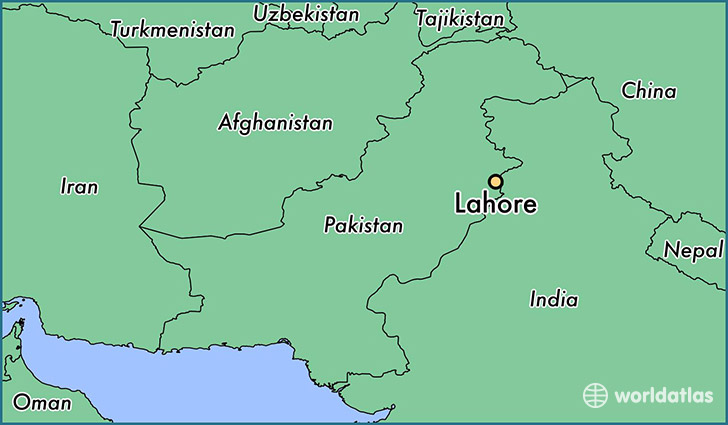 map showing the location of Lahore