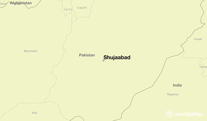 map showing the location of Shujaabad