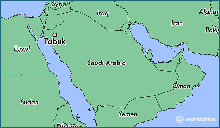 map showing the location of Tabuk