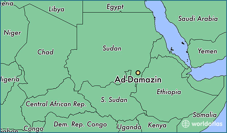 Map Showing The Location Of Ad Damazin
