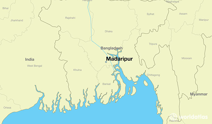 map showing the location of Madaripur