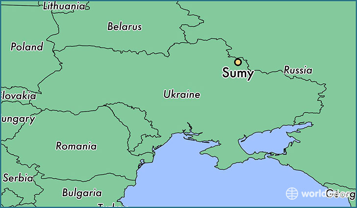 map showing the location of Sumy