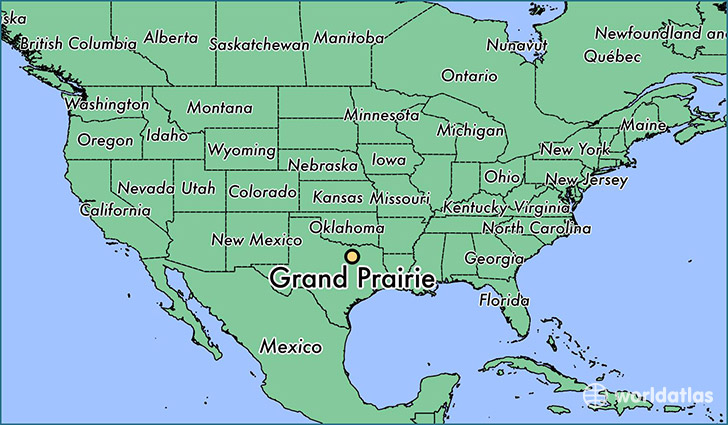 map showing the location of Grand Prairie