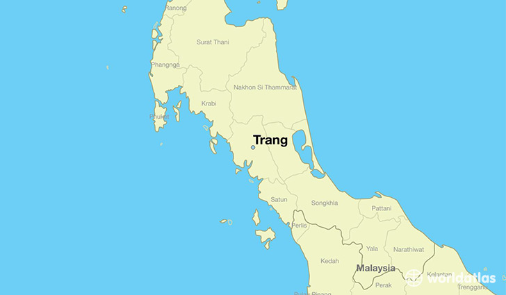 map showing the location of Trang