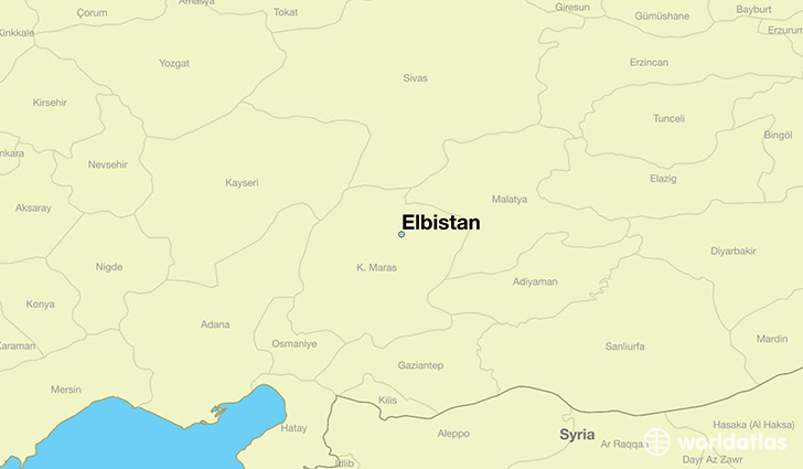 map showing the location of Elbistan