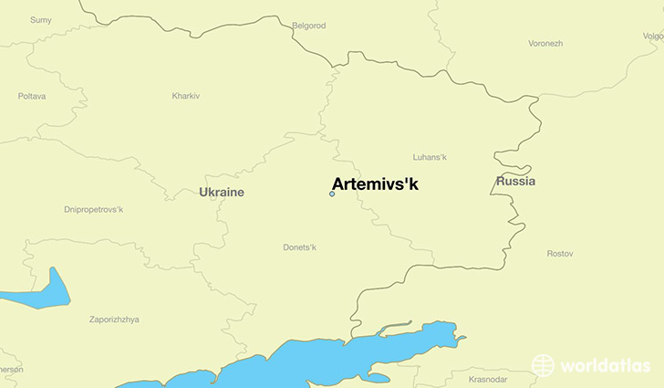 map showing the location of Artemivs'k