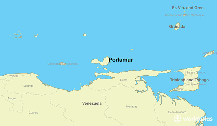 map showing the location of Porlamar