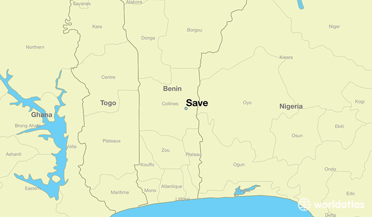 map showing the location of Save