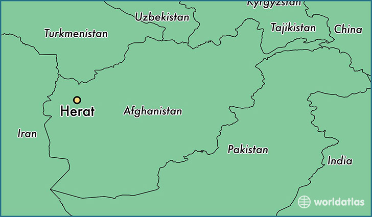 map showing the location of Herat