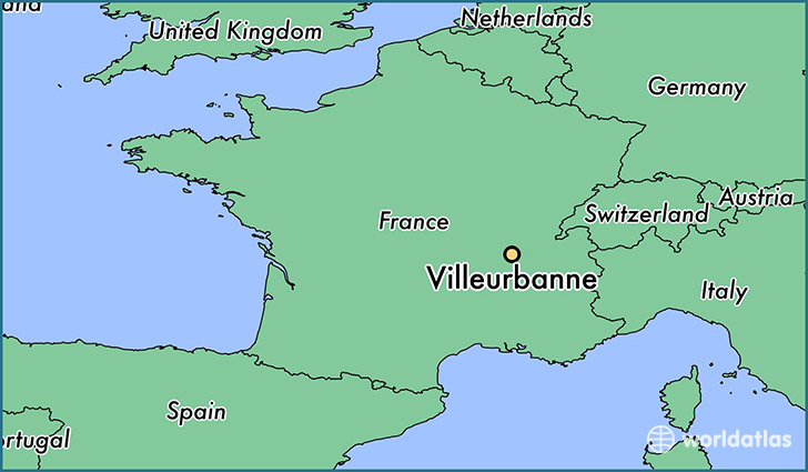 map showing the location of Villeurbanne