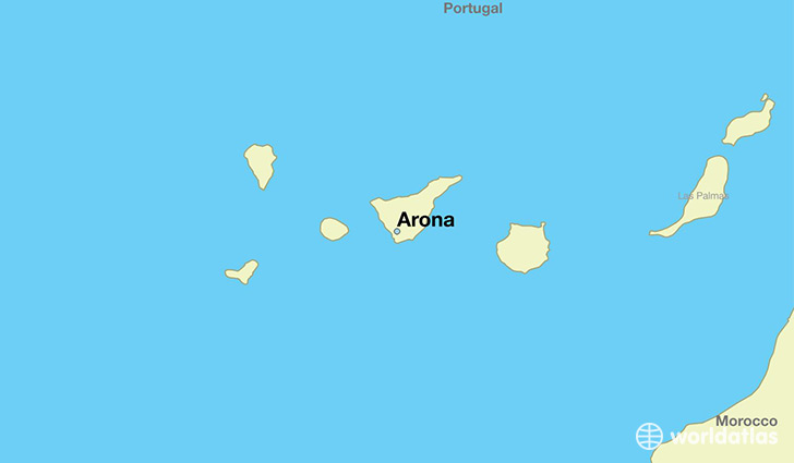 map showing the location of Arona