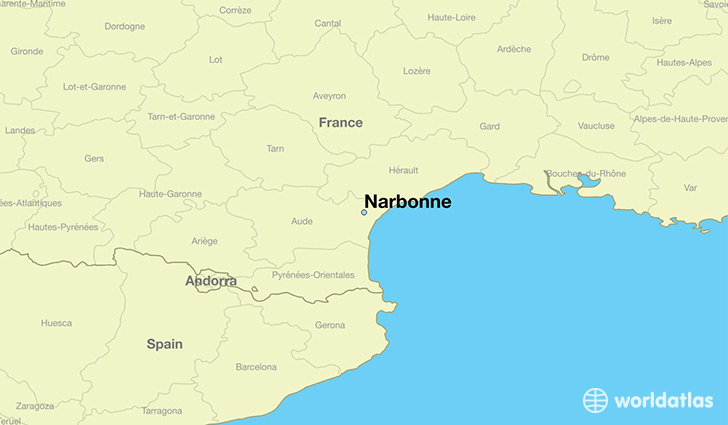 map showing the location of Narbonne