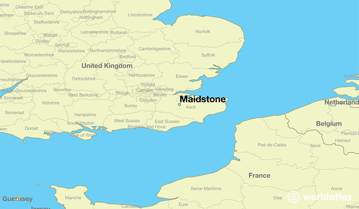map showing the location of Maidstone