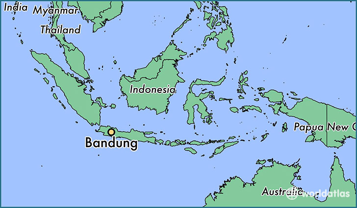 map showing the location of Bandung