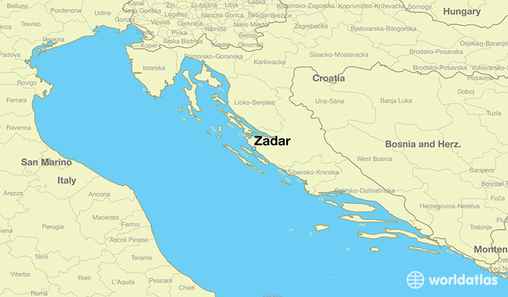 map showing the location of Zadar