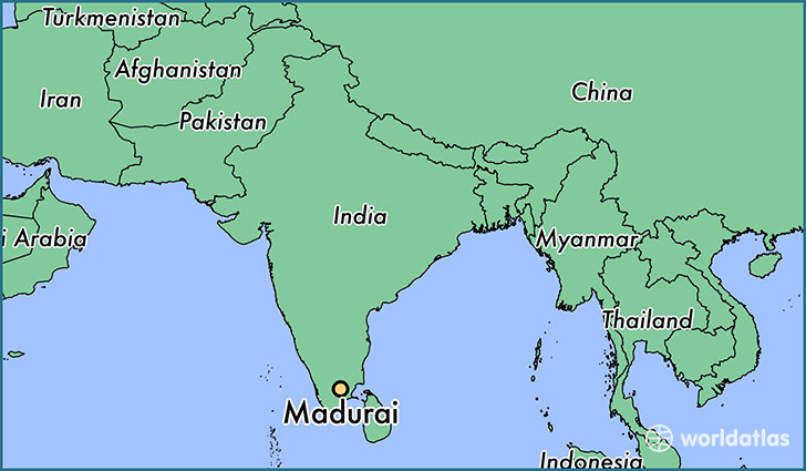 map showing the location of Madurai