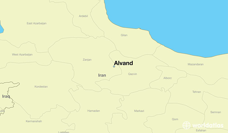 map showing the location of Alvand