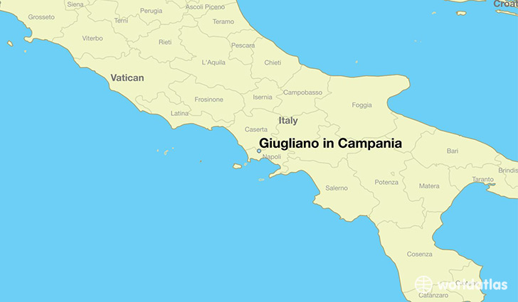 map showing the location of Giugliano in Campania