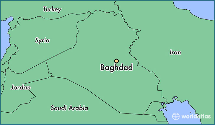 map showing the location of Baghdad