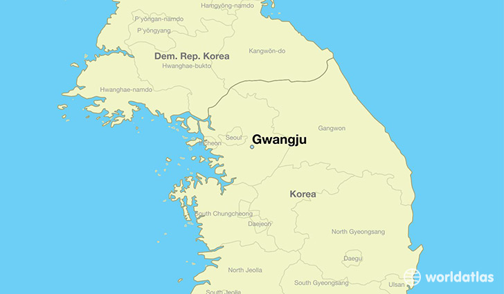 map showing the location of Gwangju