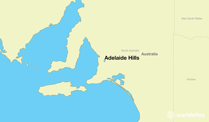map showing the location of adelaide hills