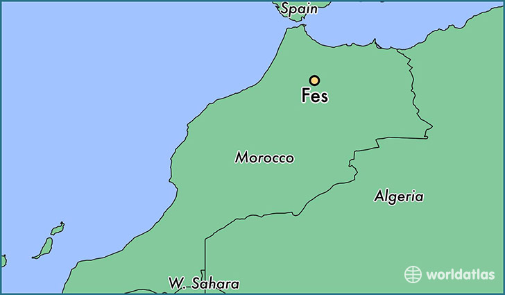 map showing the location of Fes