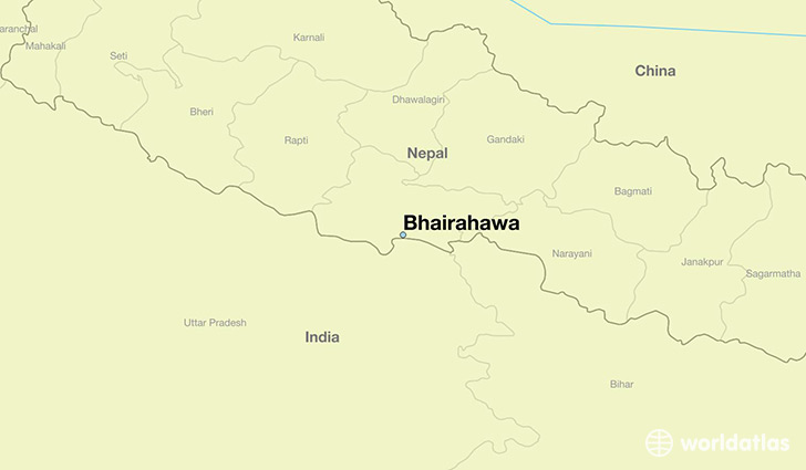 map showing the location of Bhairahawa